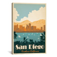 'San Diego, California' by Anderson Design Group Vintage Advertisement on Canvas