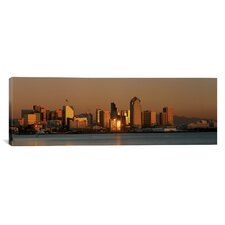 Panoramic San Diego Skyline at Sunset Photographic Print on Canvas