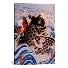 Japanese Samurai Wrestling Giant Koi Carp Woodblock Graphic Art on Canvas