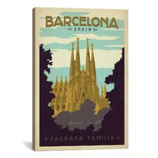 'Sagrada Familia - Barcelona, Spain' by Anderson Design Group Vintage Advertisement on Canvas