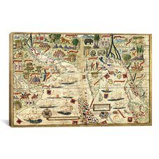 Antique Map 'Miller Atlas - Arabia and India (Reinel, Pedro c 1519)' Graphic Art on Canvas