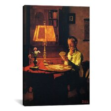 'Man Playing Cards by Lamplight' by Norman Rockwell Painting Print on Canvas