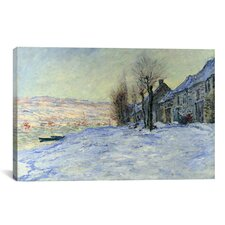 'Lavacourt Sunshine and Snow' by Claude Monet Painting Print on Canvas