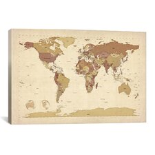 'Map of The World V' by Michael Tompsett Graphic Art on Canvas