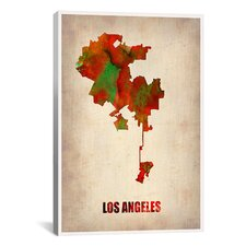 Naxart 'Los Angeles Watercolor Map' Graphic Art on Canvas