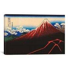 'Lightning Below the Summit' by Katsushika Hokusai Graphic Art on Canvas