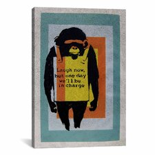 Street Art 'Laugh Now, Sandwich Board-Wearing Monkey Color Tunnel' Graphic Art on Canvas