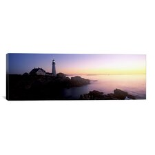 Panoramic Portland Head Lighthouse Built 1791, Cape Elizabeth, Maine Photographic Print on Canvas