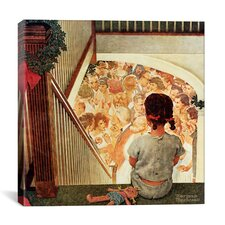 'Little Girl Looking Downstairs at Christmas Part' by Norman Rockwell Painting Print on Canvas