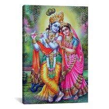 Hindu Krishna and Radha Hindu Gods Painting Print on Canvas