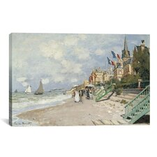 'La Plage a Trouville 1870' by Claude Monet Painting Print on Canvas