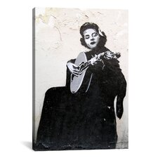Street Art 'Lady Guitarist' Painting Print on Canvas
