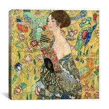 'Lady with a Fan' by Gustav Klimt Painting Print on Canvas