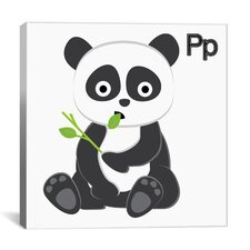 Kids Art P is for Panda Painting Print Canvas Wall Art