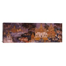 Panoramic Ramayana Murals in Royal Palace, Phnom Penh, Cambodia Painting Print on Canvas