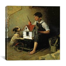 'Paniting the Little House' by Norman Rockwell Painting Print on Canvas