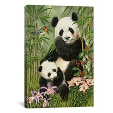 'Panda Paradise' by William Vanderdasson Painting Print on Canvas