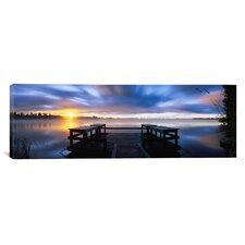 Panoramic Panoramic View of a Pier at Dusk, Vuoksi River, Imatra, Finland Photographic Print on Canvas