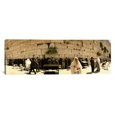 Panoramic People Praying in Front of the Wailing Wall, Jerusalem, Israel Photographic Print on Canvas