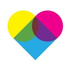 Modern Art Fluorescent Heart Diagram Graphic Art on Canvas