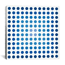 Modern Art Faded Navy Dots Graphic Art on Canvas