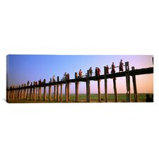 Panoramic People Crossing over the Bridge, Mandalay, Myanmar Photographic Print on Canvas