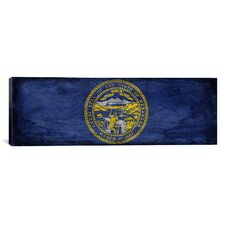 Flags Nebraska Paper Grunge Panoramic Graphic Art on Canvas