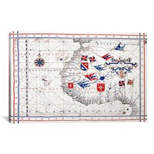 Antique Maps 'Nautical Map (Vaz Dourado, Ferna£o 1571)' Graphic Art on Canvas