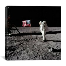 Neil Armstrong Placing American Flag on the Moon Canvas Wall Art