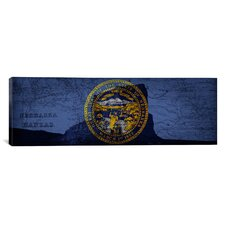 Flags Nebraska Jail Rock with Map Panoramic Graphic Art on Canvas