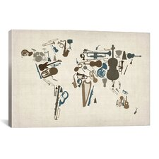 'Musical Instruments Map of theWorld' by Michael Tompsett Graphic Art on Canvas