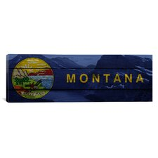 Flags Montana Grinell Lake with Wood Planks Panoramic Graphic Art on Canvas
