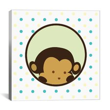 Kids Children Monkey Face Spots Canvas Wall Art