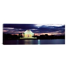 Panoramic Monument Lit Up at Dusk, Jefferson Memorial, Washington, D.C Photographic Print on Canvas