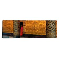 Panoramic Monk in Prayer Hall at Wat Mai Buddhist Monastery, Luang Prabang, Laos Photographic Print on Canvas