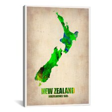 'New Zealand Watercolor Map' by Naxart Graphic Art on Canvas