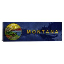 Flags Montana Lake McDonald Panoramic Graphic Art on Canvas