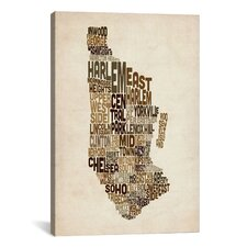 'New York Typographic Map III' by Michael Tompsett Textual Art on Canvas