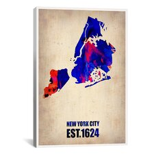 Naxart New York City Watercolor Map I Graphic Art on Canvas