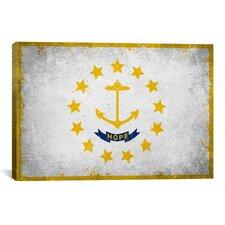 Rhode Island Flag, Grunge Graphic Art on Canvas