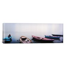 Panoramic Row Boats in a River, Ganges River, Varanasi, Uttar Pradesh, India Photographic Print on Canvas