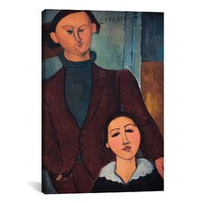 'Portrait of Jaques and Bethe Lipchitz' by Amedeo Modigliani Painting Print on Canvas