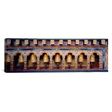 Panoramic Prayer Wheels in a Temple, Chimi Lhakhang, Punakha, Bhutan Photographic Print on Canvas