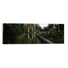 Panoramic Ruins of a Temple, Preah Khan, Angkor, Cambodia Photographic Print on Canvas