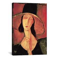 'Portrait of a Woman (Jeanne Hébuterne)' by Amedeo Modigliani Painting Print on Canvas