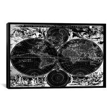 Antique Maps Nova Totius Terrarum Orbis Tabula (1684) by J Bormeester Graphic Art on Canvas in Black