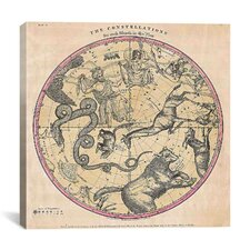 Maps and Charts Prints the Stars Constellations of the Northern Hemisphere (Burritt 1856) Graphic Art on Canvas in Beige