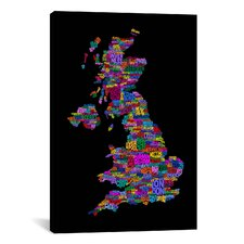 Great Britain UK City Map by Michael Tompsett Textual Art on Canvas in Black