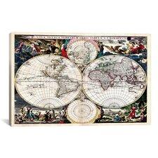 Antique Maps Nova Totius Terrarum Orbis Tabula (1684) by J Bormeester Graphic Art on Canvas in Multi-color