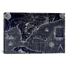 Antique Maps of Florida and Cuba (Jacques le Moyne (1588) by Jacques Le Moyne De Morgues Graphic Art on Canvas in Negative